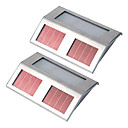 Set of 2 White Solar Powered LED Light Pathway Path Step Stair Wall Mounted Garden Lamp