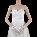 Cotton / Lace Wrist Length Fingertips Bridal Gloves With Pearls (More Colors)