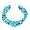 Fashion Blue Natural Stone Alloy Necklace