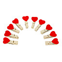 Sweet Heart Shaped Mini Wooden Clamp with Hemp Rope (10-Pack)