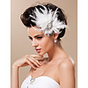 plumas preciosas con diamantes de imitacin / casco de la boda de tul de novia (1187-TS-th33)