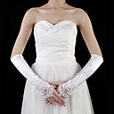 Satin / Lace Elbow Length Fingerless Bridal Gloves With Pearls