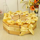 Cake Shaped Favor Box With Gold Rinbbon (Set of 10)