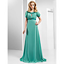  A-line Scoop Floor-length Chiffon And Stretch Satin Evening Dress