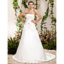 A-line Princess Strapless Chapel Train Satin Wedding Dress