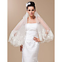 Beautiful Two-tier Fingertip Wedding Veil With Lace Applique Edge