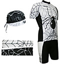 Cycling BIB Suits with Head Scarf and Arm Warmers(White and Black)