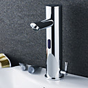 Contemporary Brass Bathroom Sink Faucet with Automatic Sensor (Hot and Cold) - Chrome Finish