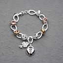 Beautiful Silver Plated Colorful Rings Key&Lock Charm Women's Bracelet