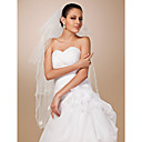 Four-tier Tulle Pencil Edge Fingertip Wedding Veil With Pearls / Satin Flower