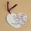 Personalized Heart Shaped Wedding Invitation With Fuchsia Ribbon- Set Of 50