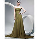 A-line Sweetheart Sweep/ Brush Train Chiffon Evening Dress with Side-draping