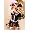 Leatherette With Lace/Bowknot Halter Side Zipper Closure Corset Shapewear