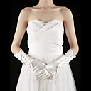 Gorgeous Satin Fingertips Elbow Length With Pearls Bridal Gloves (More Colors)