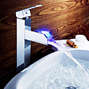 Sprinkle® by Lightinthebox - Color Changing LED Waterall Bathroom Sink Faucet (Tall)