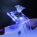 Color Changing LED Waterfall Bathroom Sink Faucets (Glass Handle)