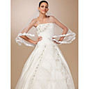 One-tier Tulle Lace Applique Edge Elbow Wedding Veil With Satin Flower (More Colors)
