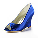 Satin Wedge Heel Peep Toe With Ruffles Wedding Party Women's Shoes