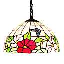 60W 1 - Light Tiffany Glass Pendent Light with Butterfly Pattern