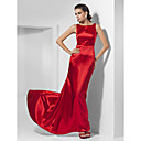 A-line Bateau Sweep/ Brush Train Charmeuse Evening Dress inspired by Abbie Cornish at Oscar