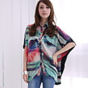 Lady Irregular Hem Loose Print Chiffon Blouse