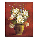 Printed Floral and Vase Canvas Art with Stretched Frame