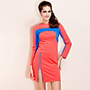 TS Color Block Long Sleeves Zipper Dress