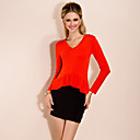 TS V Neck Flounces Hem Cashmere Shirt(More Colors)