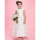 A-line Jewel Ankle-length Organza Over Satin Flower Girl Dress