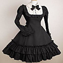 Flare Sleeve Knee-length Black and White Cotton School Lolita Dress