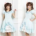 Short Sleeve Knielanger Blue Cotton Land Lolita Kleid