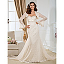 Trumpet/Mermaid Sweetheart Court Train Lace Wedding Dress With A Wrap