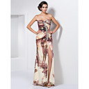 Trumpet/Mermaid Sweetheart Strapless Floor-length Chiffon Beading Split Front Ruching Evening Dress