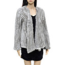 Elegant Long Sleeve Collarless Evening Rabbit Fur Jacket