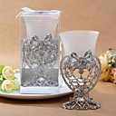 Silver Bow and Heart Candle Votive Holder