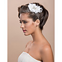  Gorgeous Tulle Wedding Bridal White Feather Rhinestone Headpiece