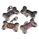 Dog Paw Pattern Bone Style Dog ID Name Tag (Assorted Colors)