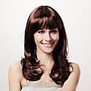 Capless Long Curly Brown Synthetic Wig Full Bang