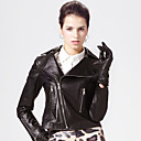 Fashion Long Sleeve Turndown Collar Lambskin Leather Jacket