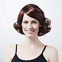 Capless Medium Length Synthetic Dark Brown With Red Curly Hair Wig
