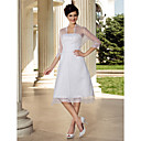 A-line 3/4 Length Sleeve Knee-length Organza Wedding Dress