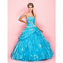 A-line Ball Gown Strapless Floor-length Organza Evening Dress