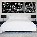 12 &quot;-24&quot; Estilo Moderno reloj de pared floral en lienzo 3pcs