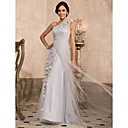 A-line One Shoulder Floor-length Tulle Evening Dress