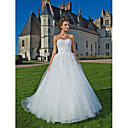Ball Gown Sweetheart Strapless Chapel Train Tulle Wedding Dress
