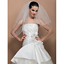 Two-tier Elbow Cut Edge Wedding Veil With Crystal
