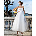 palla abito senza spalline ankle-lunghezza abito da sposa in tulle