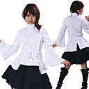 Flare Sleeve Knielanger Wei und Schwarz Cotton Casual Lolita Outfit