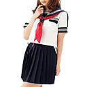 Cute Girl Ink Blue and White Polyester Sailor Suits (2 Pieces)