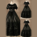 Short Sleeve Floor-length Black Satin Aristocrat Gothic Lolita Dress